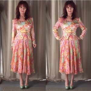 VINTAGE AJ BARI SKIRT SET SEQUINS SILK FLORAL